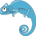 a blue chameleon cartoon