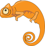 orange chameleon cartoon